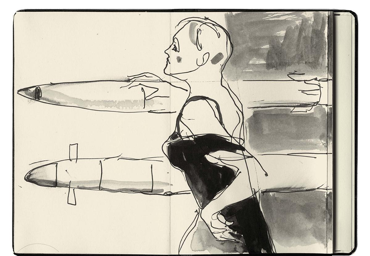 Jill Gibbon »Sketchbook 5, Eurosatory Arms Fair, Paris 2014«