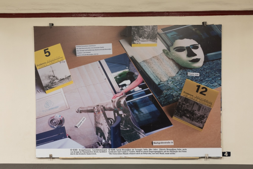 Beatrice Schuett Moumdjian »Forensic Excavations Inventory or The Total Deconstruction of an Armenian Family«, Installationsansicht Kunst im Untergrund, Berlin 2019 (Foto: Benjamin Renter)