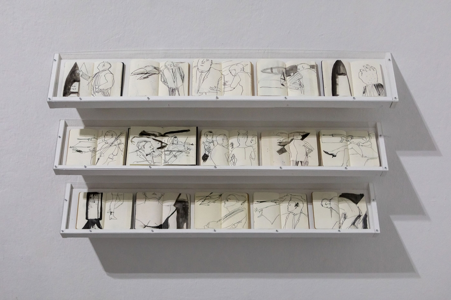 Jill Gibbon »Installation of sketchbooks drawn undercover at arms fairs - 2014-2019«, Ausstellungsansicht »Up in Arms«, Kunstraum Kreuzberg/Bethanien 2019, Photo: Julian van Dieken